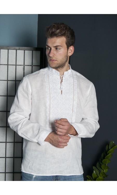 Чоловіча лляна вишиванка біла по білому