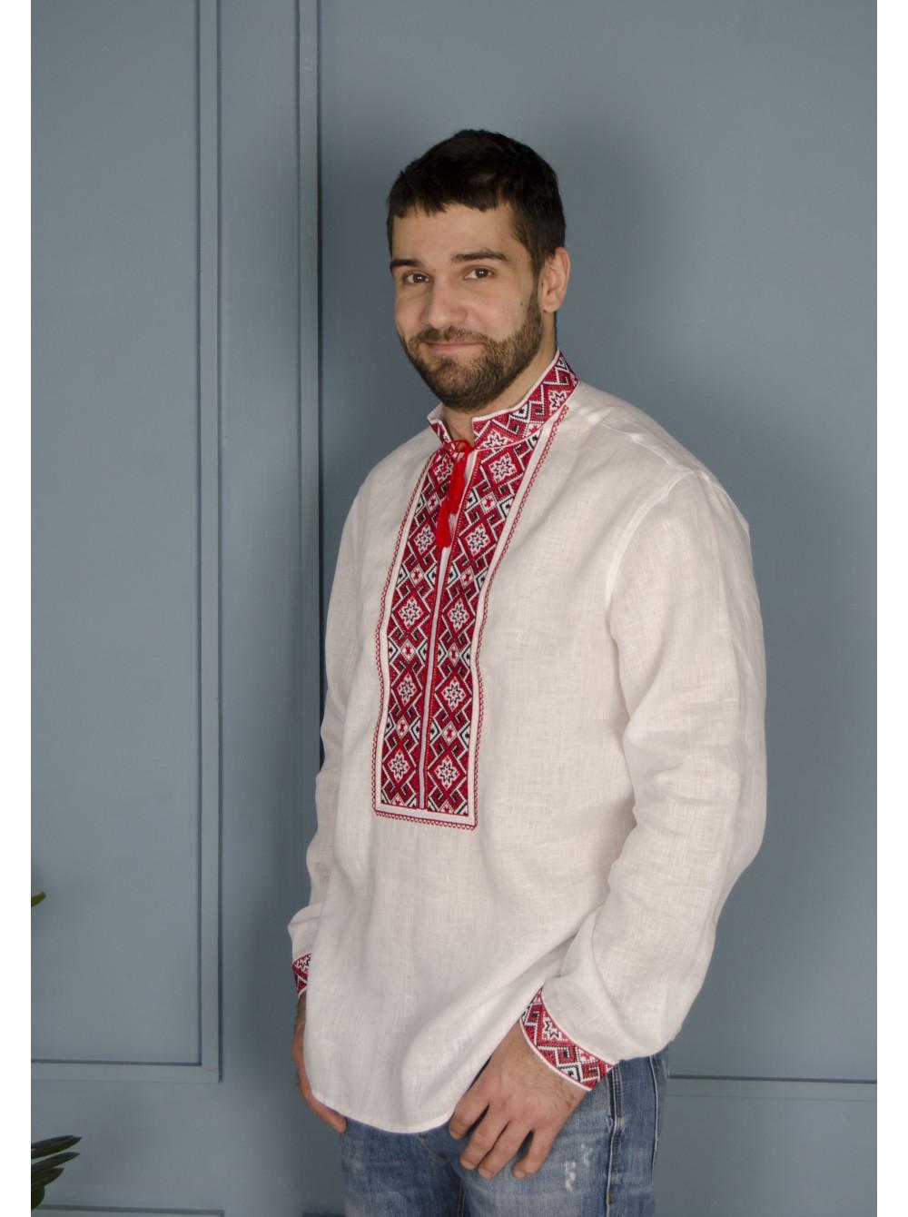 Чоловіча вишиванка біла з червоно-чорною вишивкою 5056f17678936