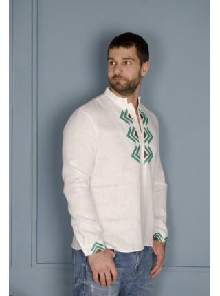 Чоловіча вишиванка біла з зеленою вишивкою