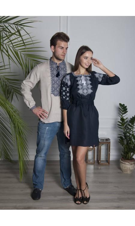 Сіра вишиванка та темно-синя лляна сукня Pair2