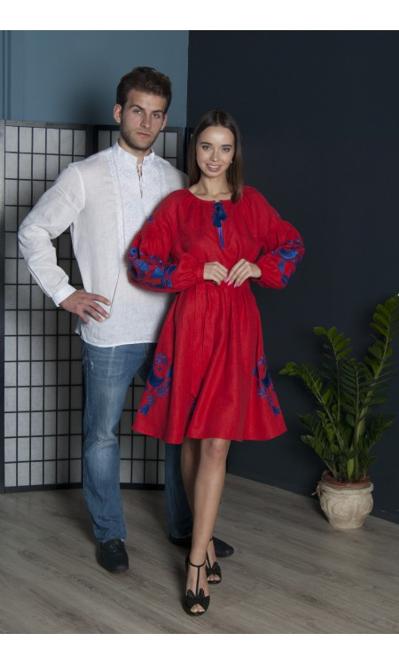 Біла вишиванка та червона лляна сукня Pair3