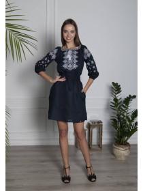 Чарівна темно-синя лляна сукня