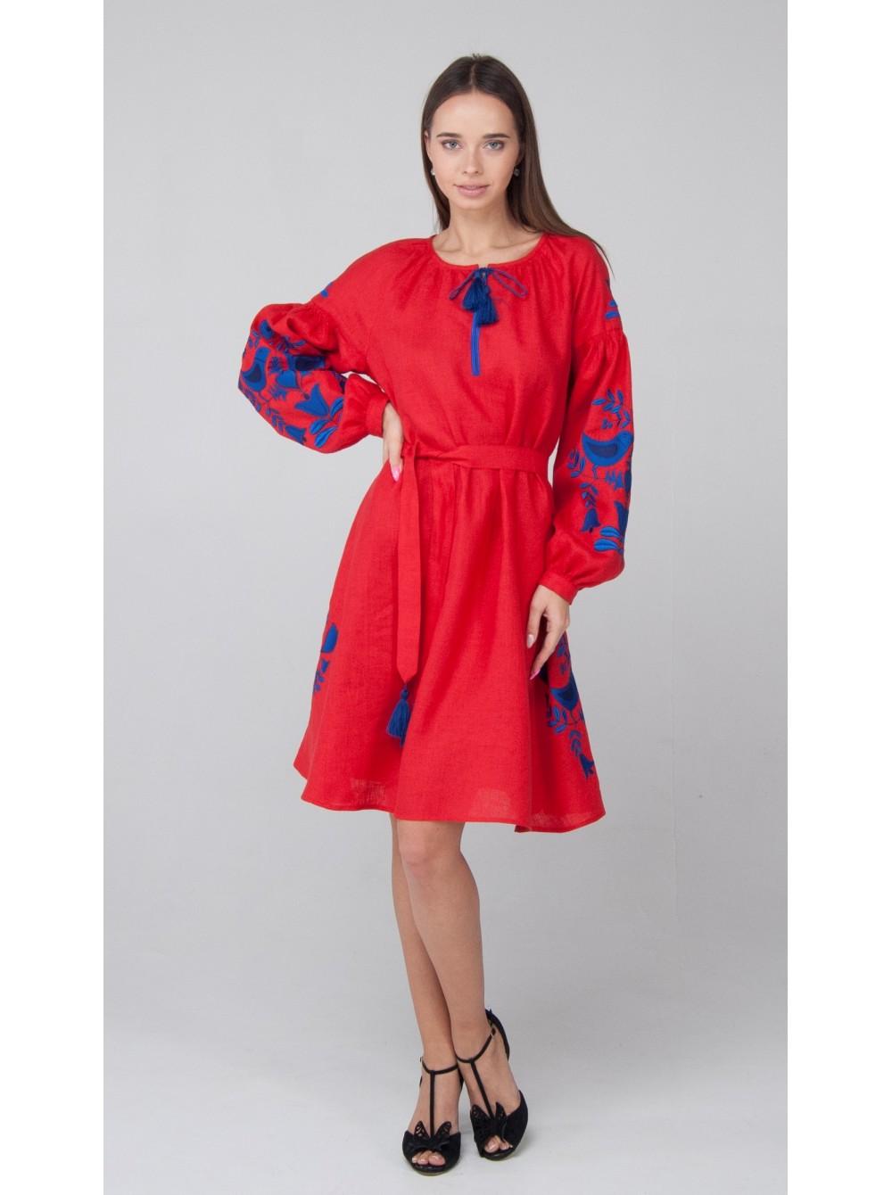 5655608b9982a7 Червона лляна сукня - etno-vyshyvanka.com