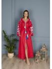Червона лляна вишита  сукня, довга buy embroidered dress