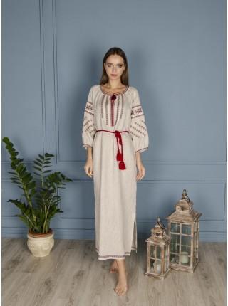 Сіра лляна сукня, довга з червоною вишивкою