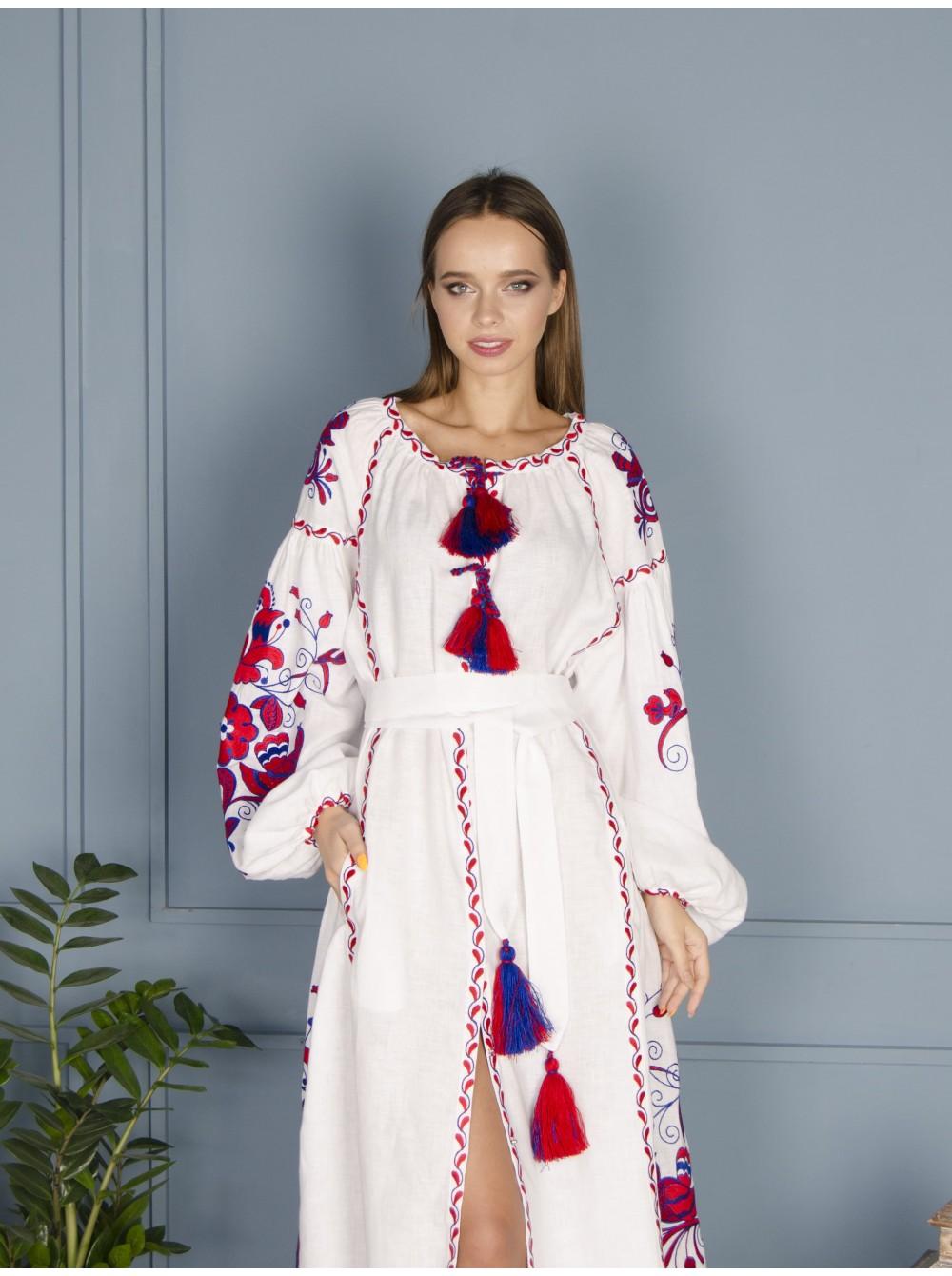 Біла лляна сукня 946c379dca29b