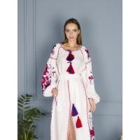 White Embroidered Linen dress, Ukrainian vyshyvanka Linen dress Boho