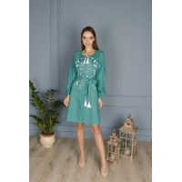 Green linen dress with white embroidery