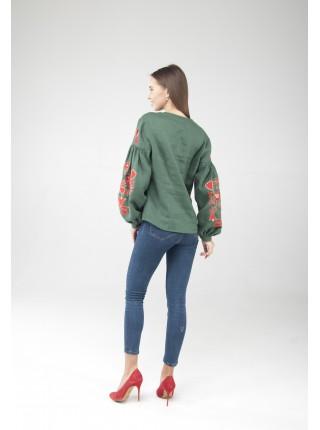 Вишиванка жіноча, зелена з червоною вишивкою