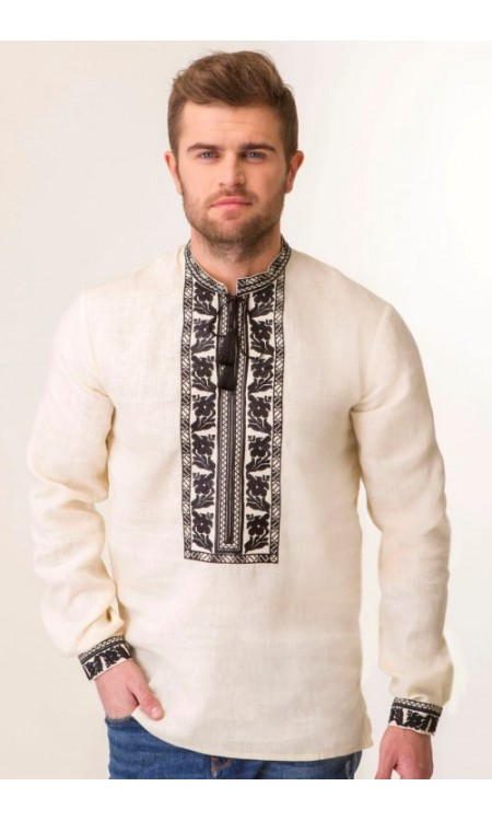 Молочна чоловіча вишиванка з чорною вишивкою на натуральному льоні