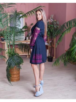 Лляна вишита сукня Колоски, синя