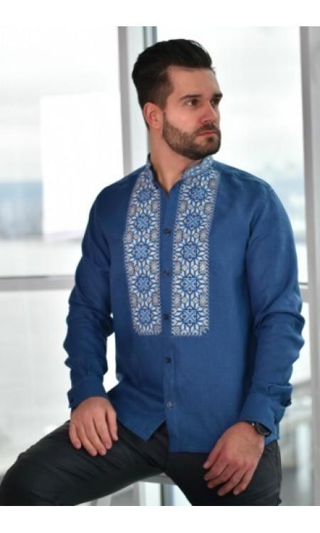Чоловіча лляна сорочка вишиванка синя