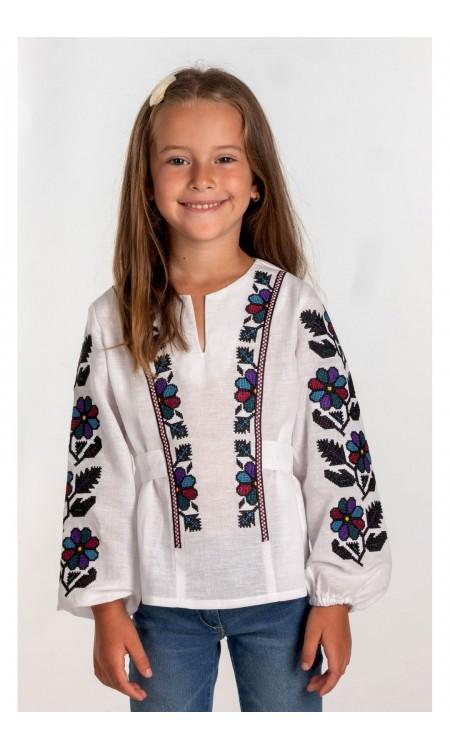 Біла вишиванка для дівчинки Борщівська