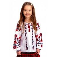 Біла вишиванка для дівчинки з червоною вишивкою