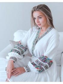 Лляна вишита сукня Квіти, біла
