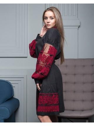 Лляна вишита сукня Колоски