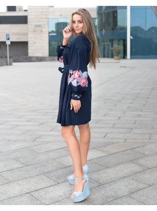Лляна вишита сукня Троянда, синя